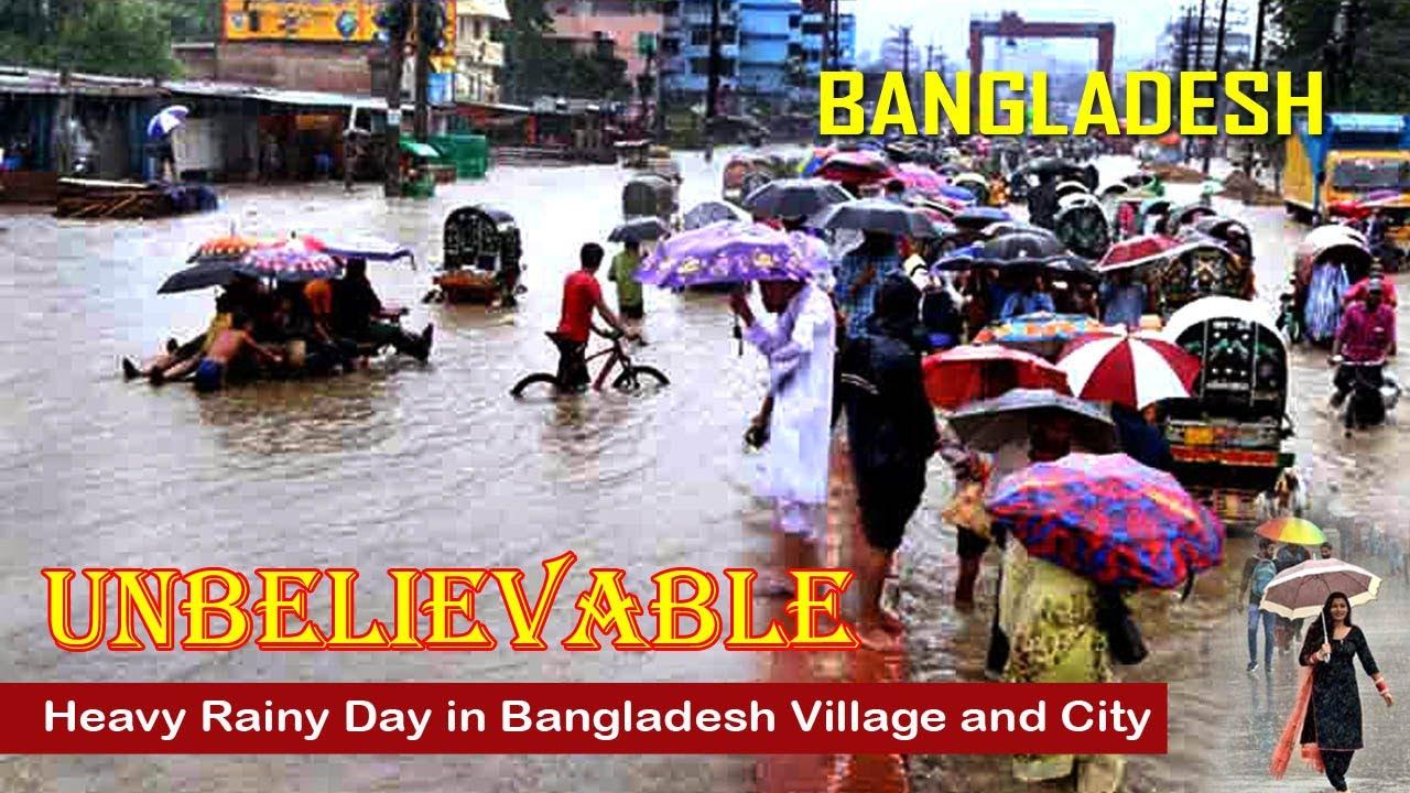 Rainy Day in Bangladesh Village and City | Heavy Rain Day Dhaka | Beautiful Rainy Day | Bangladesh