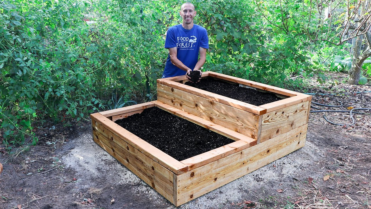 How to Build a Raised Bed, DIY TERRACE GARDEN for Patio or Backyard