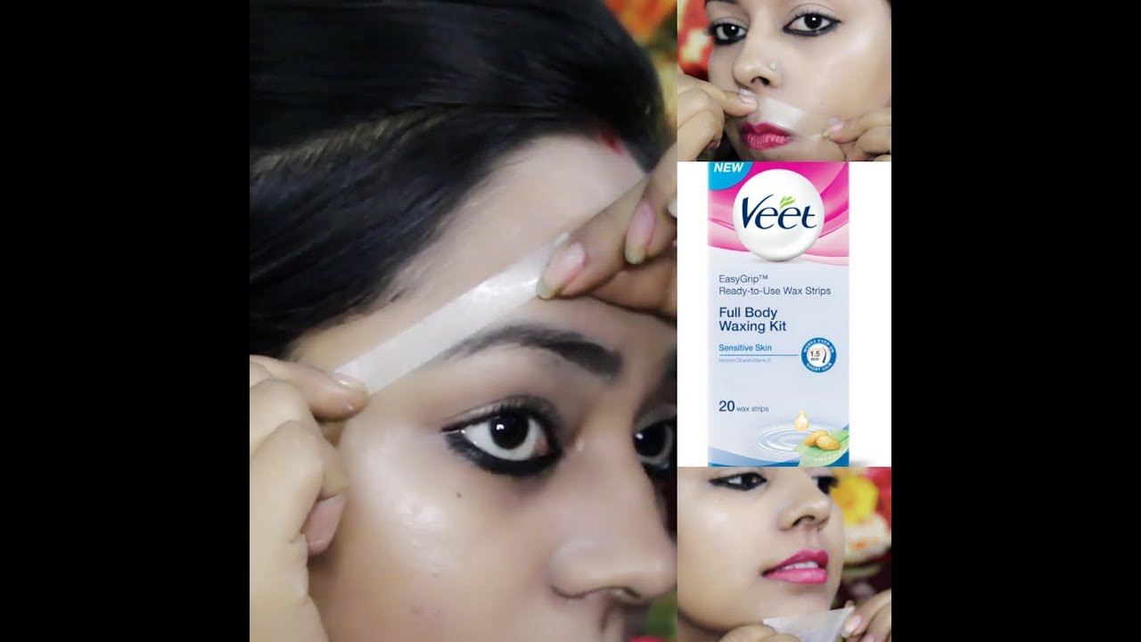 How To Wax Eyebrows & Facial Hairs At Home With VEET WAX STRIPS Step By  Step IN HINDI