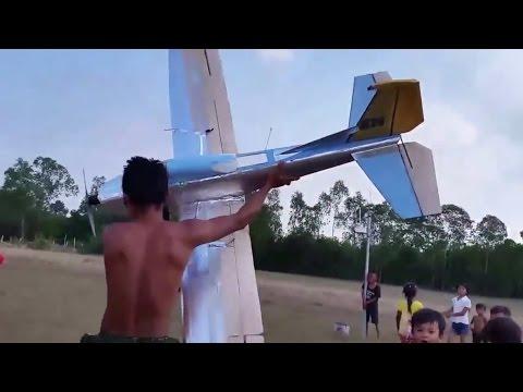 rc plane, home built foam airplane, cheap, 2.75 meter wingspan and crash