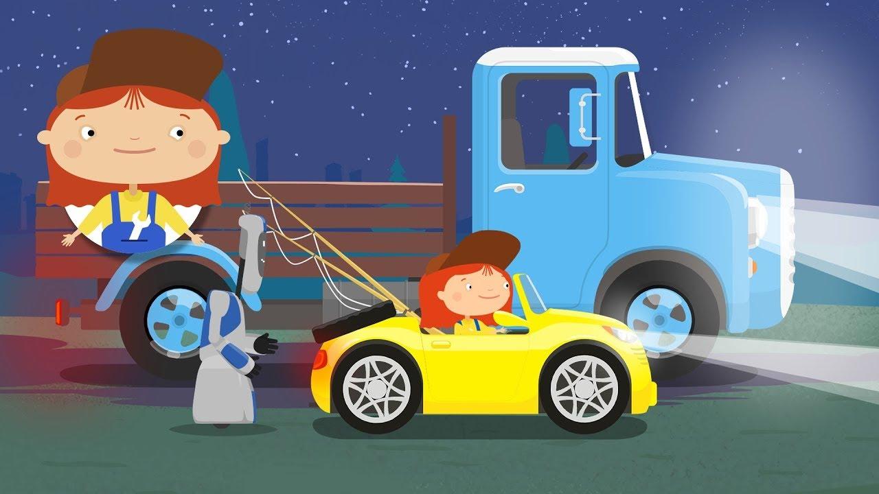 la doctora mcwheelie ayuda al camión dibujos animados de coches