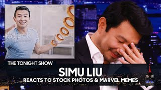 Simu Liu Reacts to Viral Stock Photos of Himself and Marvel Memes | The Tonight Show