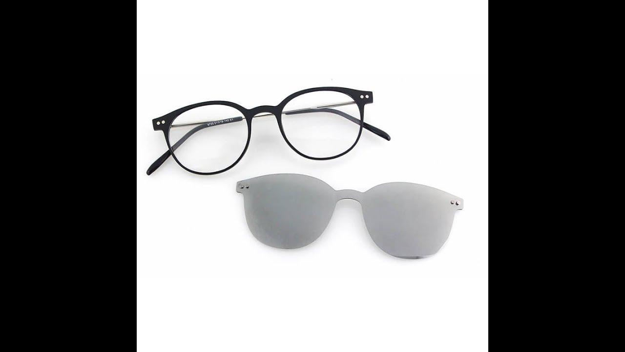 48b6b64c532 custom logo cat eye clip on sunglasses magnetic - YouTube