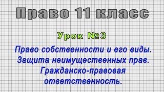 Право 11 класс (Урок№3 - Право собственности и его виды. Защита неимущественных прав.)