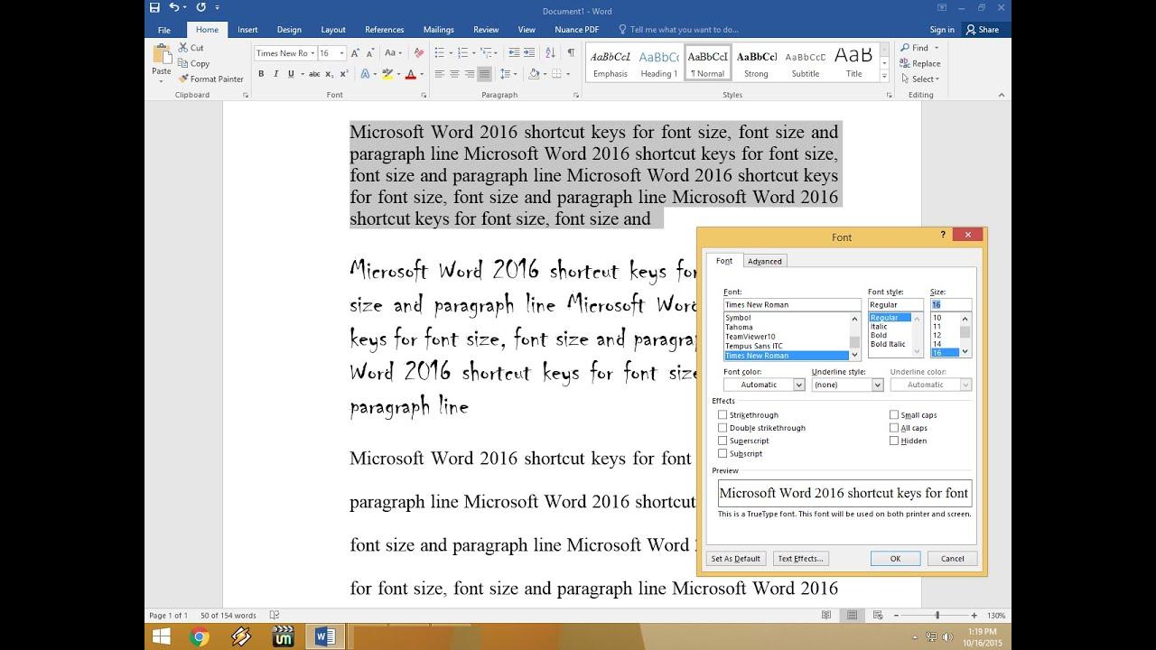 MS Word 2016 Shortcut Keys for Font Size, Font Style & Paragraph ...