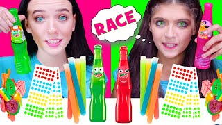 ASMR RAINBOW CANDY RACE CHALLENGE with MOST POPULAR TWIST AND DRINK