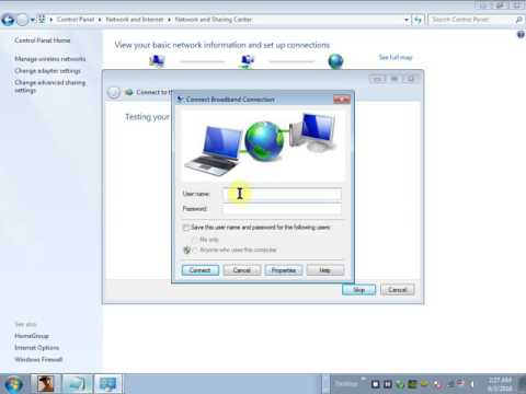 How to setup broadband connection in win 7.