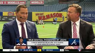 MLB Central 08/16/18 - Jose Urena hits Ronald Acuna Jr with first pitch of game Braves vs Marlins