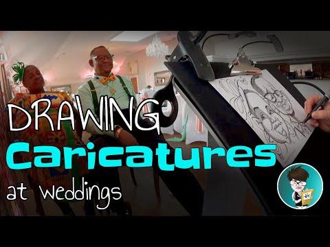 Fast Caricaturist Drawing at a Wedding - Green Shirt