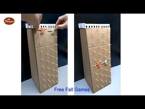 Cardboard crafts   free-falling girls   Mini cardboard games