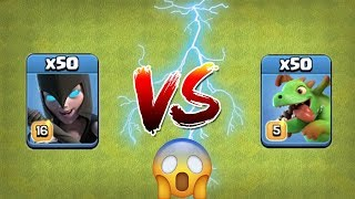 50X Night Witches VS 50X Baby Dragon | Clash Of Clans | Civil War #2