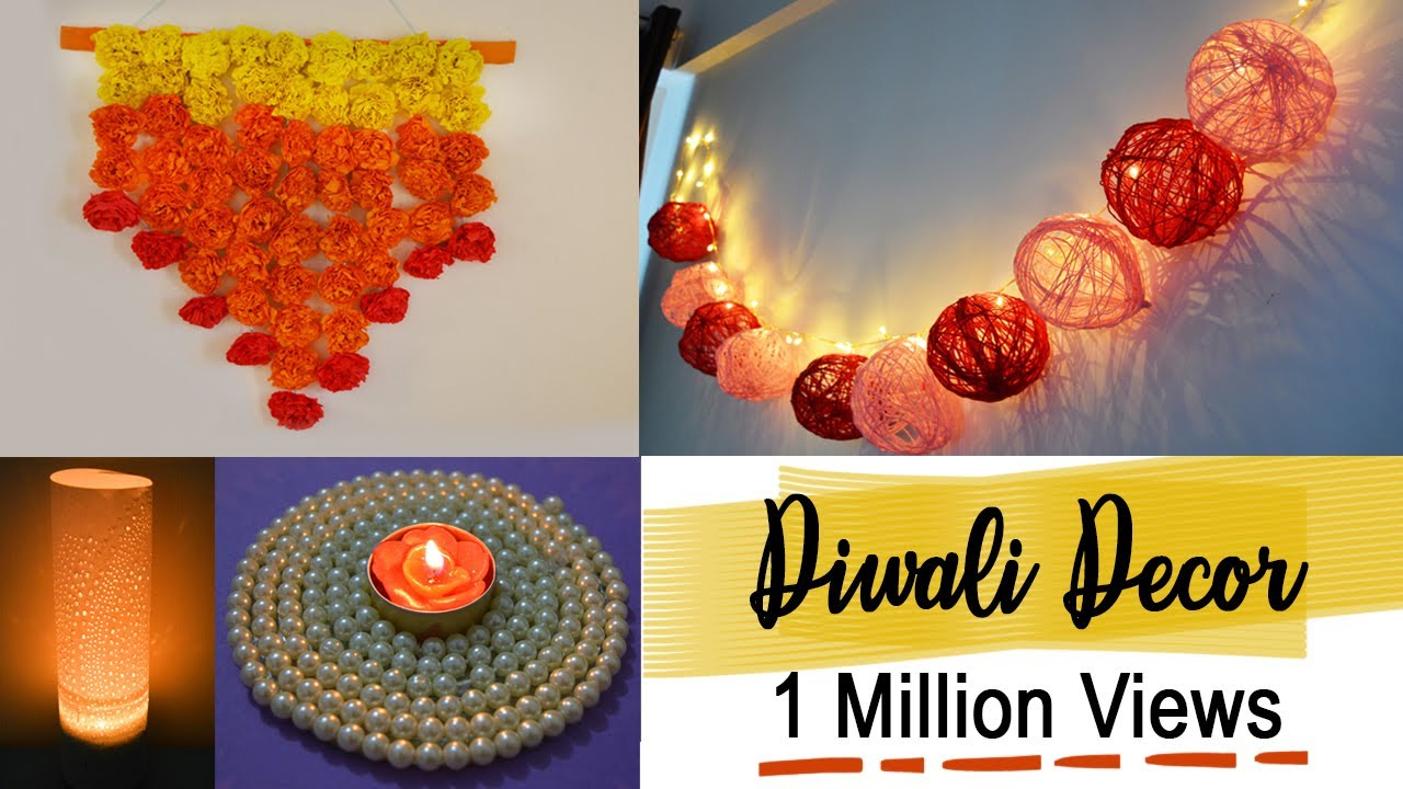 Diy diwali home decor 2016 youtube Home made decoration items for diwali