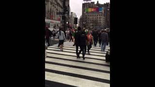 Elf crossing in New York City.