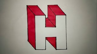How to Drawing 3D Alphabet H #8
