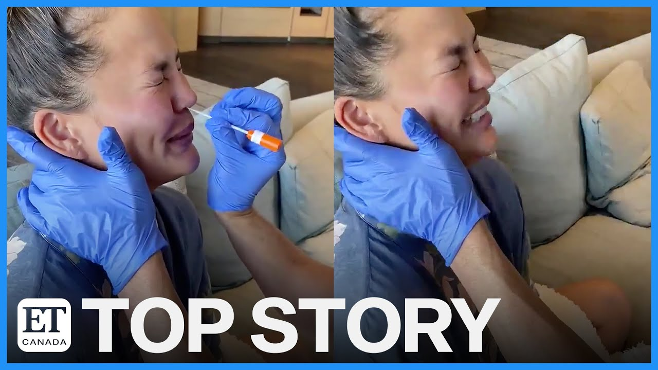 Chrissy Teigen posted a video of herself being tested for COVID-19 ...