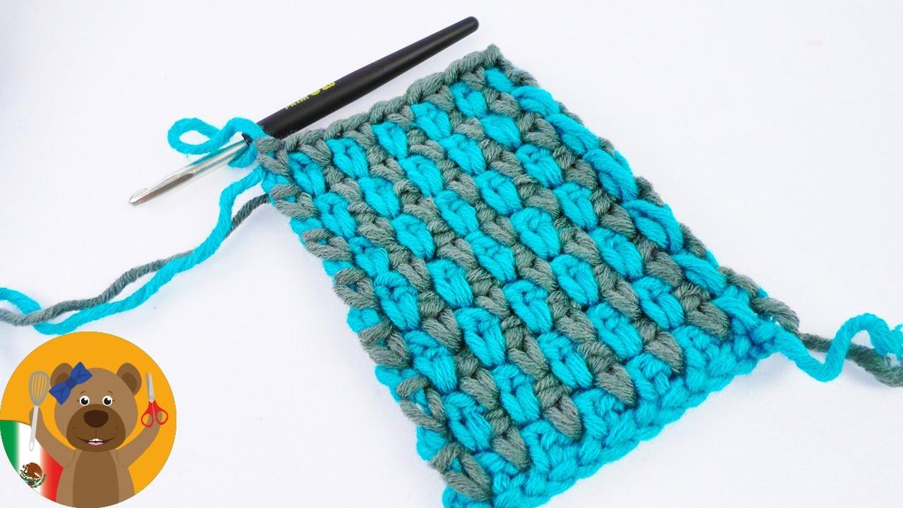 Hermoso patrón de crochet en 2 colores | Puntada perla en dos ...