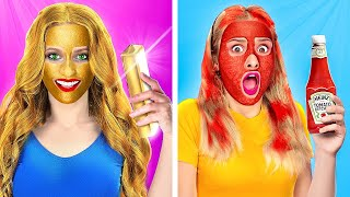 RICH VS BROKE GIRLS BEAUTY ROUTINE!  Makeup Hacks To Save You A Fortune by 123 Go! Genius