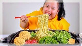 HUGE RAMEN MUKBANG + SHABU SHABU 먹방 EATING SHOW! | COOK + EAT WITH ME