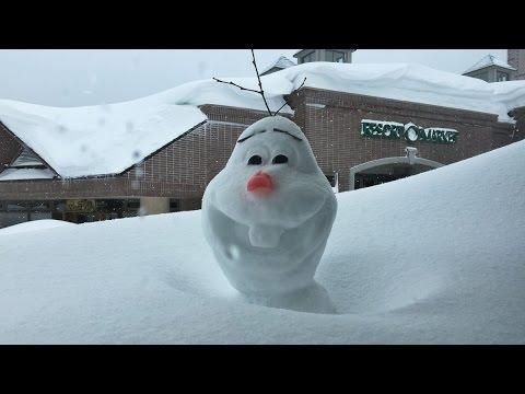 北海道の暴風雪でオラフが5時間で埋もれる Heavy blizzard hits Hokkaido,Japan.