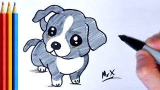 How to Draw Puppy / Dog - Step by Step Tutorial For Kids