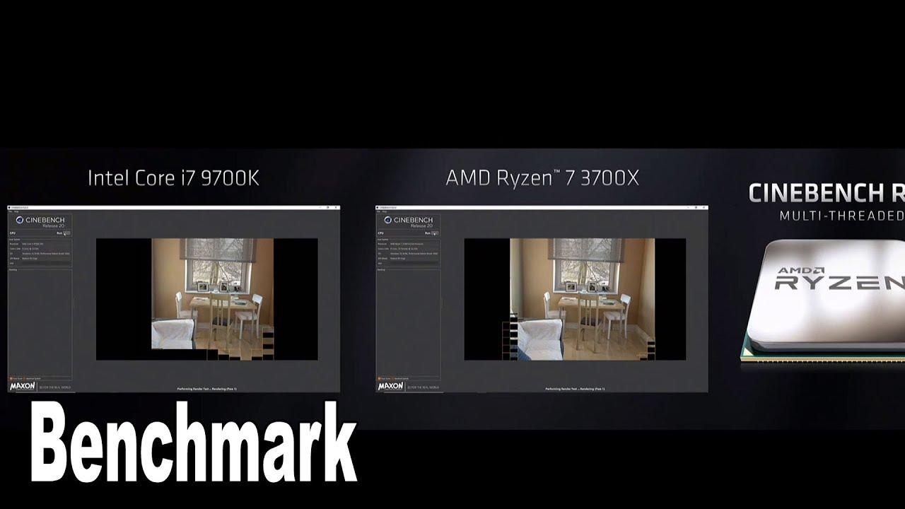 Intel i7 9700K vs AMD Ryzen 7 3700X Cinebench R20 Benchmark [HD 1080P]