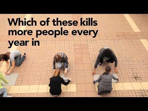 Giant Human Bar Graph - Obesity is a Major Killer