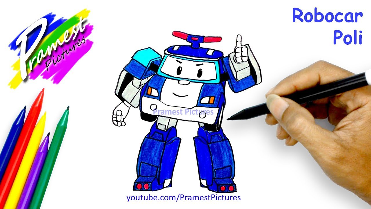 How To Draw Robocar Poli Coloring Pages For Kids