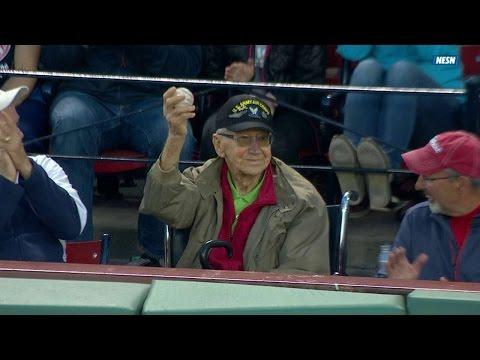Ballgirl Gives Foul Ball To WWII Veteran