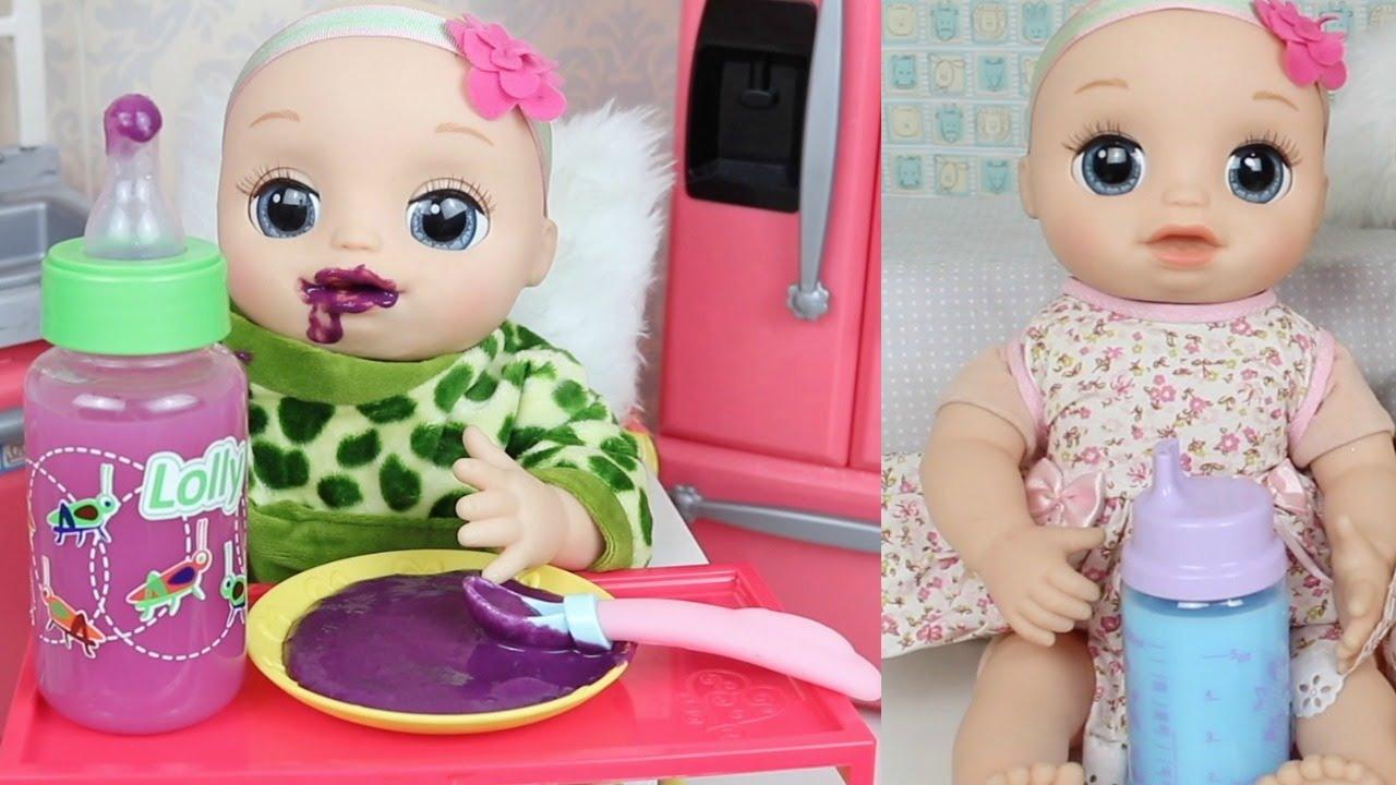 BABY ALIVE LAURINHA COMENDO PAPINHA NA HORA DA COMIDINHA DA BABY ALIVE