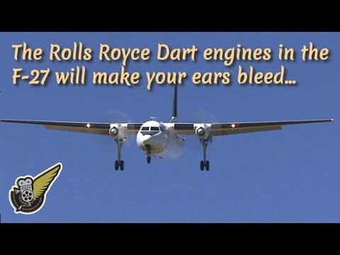 Fokker F-27 Friendship landing with sound of Rolls Royce Dart engines