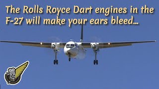 Fokker F-27 Friendship landing with sound of Rolls Royce Dart engines
