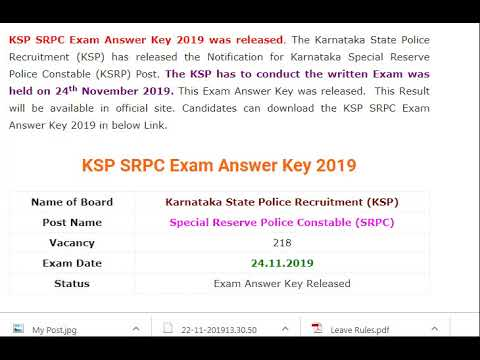 KSP SRPC Key Answer 2019 (Out) – Download for 218 Karnataka...