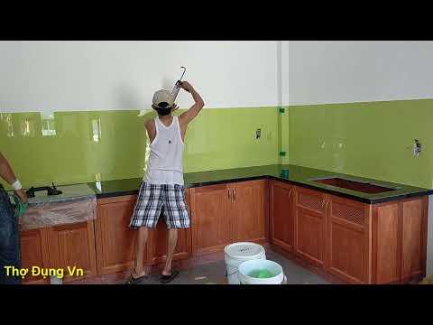 Kính ốp bếp - Thi công kính sơn, kính ốp bếp tại Bình định, cận cảnh rắp đặt   Painted Glass for kitchen tiles