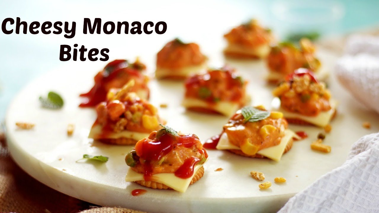 Quick and Easy Cheesy Monaco Bites | Monaco Biscuit Party Topping | Monaco Biscuit Starter & Quick and Easy Cheesy Monaco Bites | Monaco Biscuit Party Topping ...