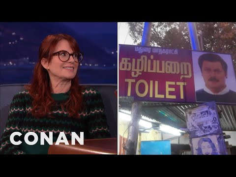 Megan Mullally: Nick Offerman Is The International Symbol For Men's Toilets  - CONAN on TBS