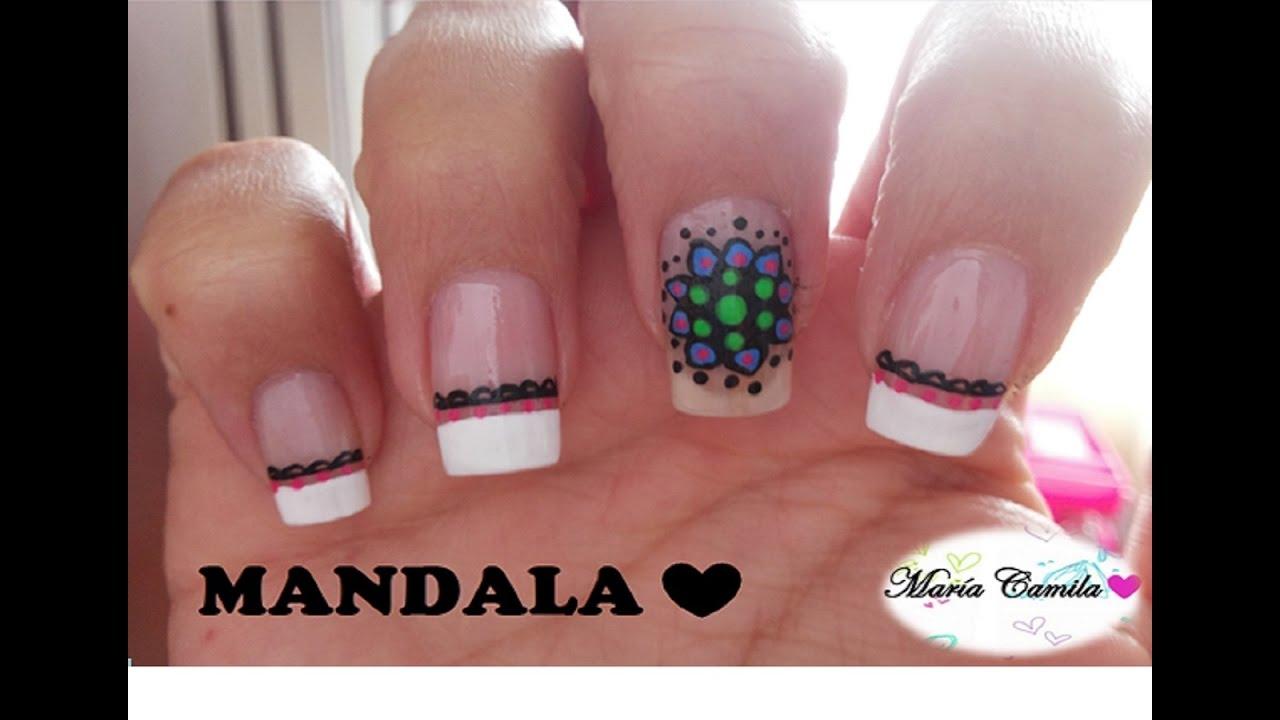 Decoración De Uñas Con Mandala Facil Mandala Nail Art Youtube