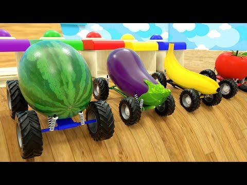 Learn Colors with Super Fruits Cars Trucks Vehicles Wheel Stick - Cars Trucks Cartoon Assembly Tyre