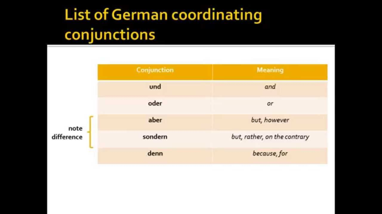 Coordinating Conjunctions In German Youtube
