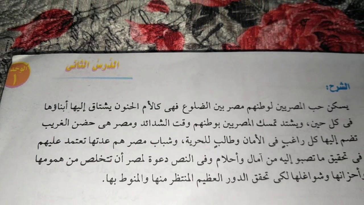 نشيد عشقناك يا مصر للصف الاولى اعدادي الشرح و المعاني ومواطن