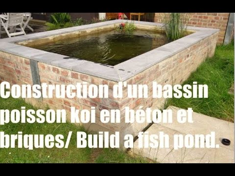 construction d 39 un bassin poisson koi en b ton et briques how to build a koi pond concrete. Black Bedroom Furniture Sets. Home Design Ideas