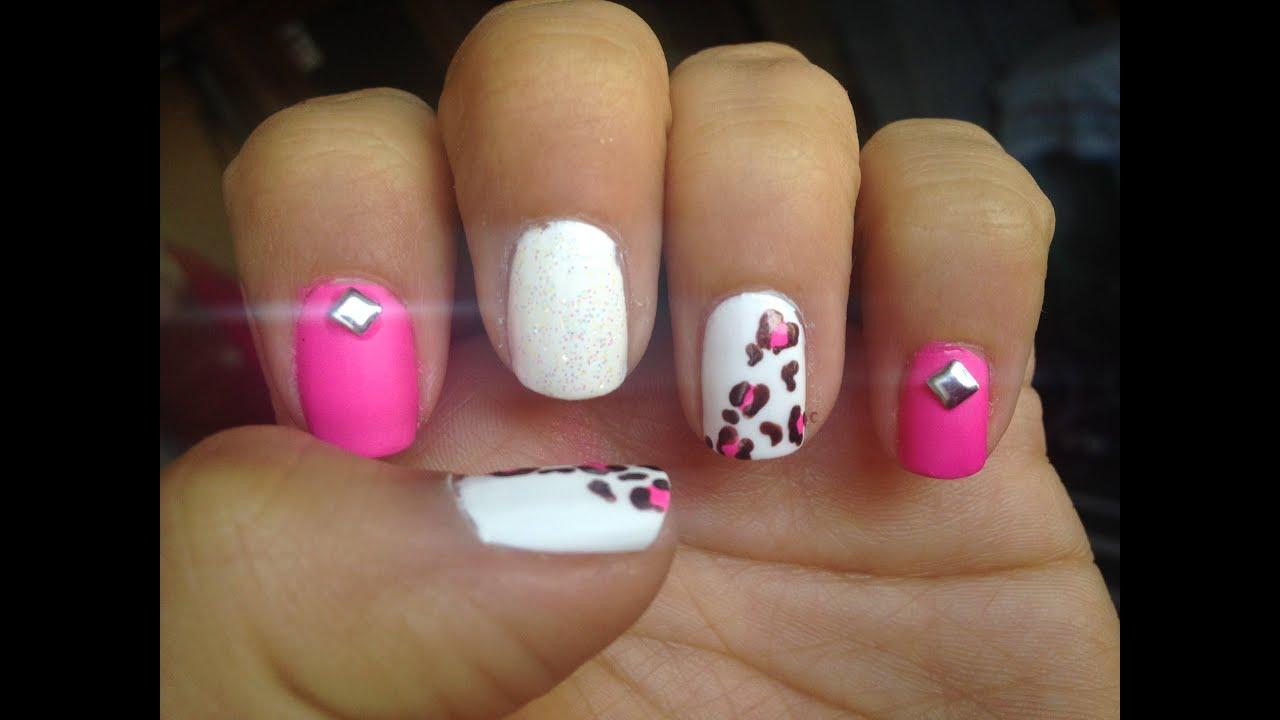 Diseño De Uñas Leopardo Rosa Super Fácil Y Rapido