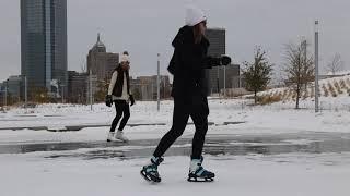 Snowy weather transforms Scissortail Park to winter wonderland