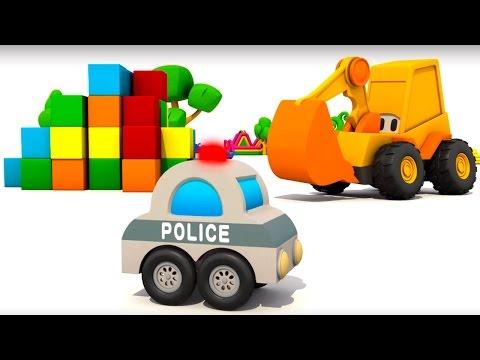 Мультфильмы 3d. Экскаватор Мася и Полицейская машина. Мультик конструктор