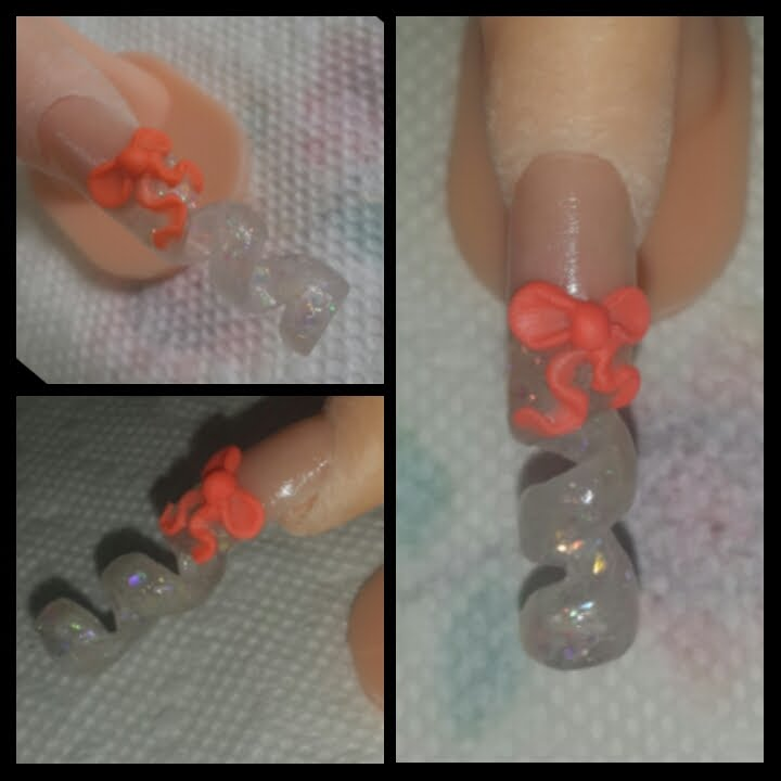 Christmas Nails Tutorial Youtube: Spiral Glitter Nail With 3D Bow