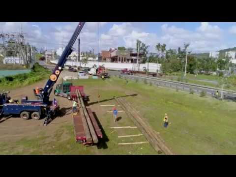 Wood Pole delivery for restoration work in Puerto Rico