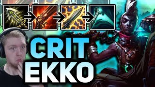 MY WHAPSTICK CANNOT BE STOPPED! 100% CRIT RAPIDFIRE CANNON EKKO MID - Patch 7.12