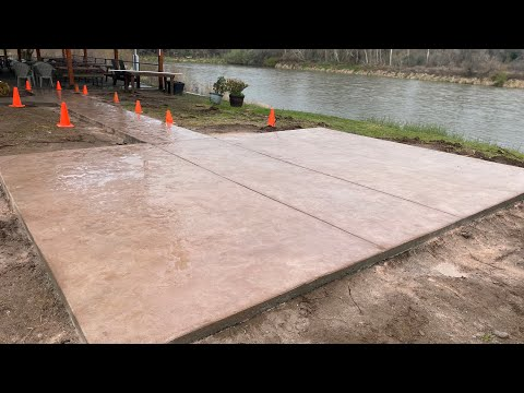 hqdefault - Roman slate stamped Concrete patio and walkway at E's locker room - Concrete Floor Pros