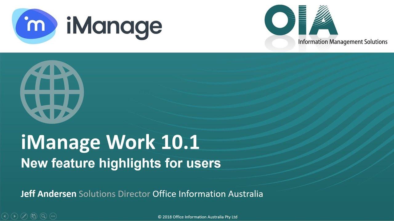 iManage 10.1: Demonstration Video