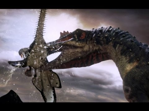 Thumbnail: Spinosaurus fishes for prey - Planet Dinosaur - BBC