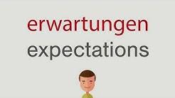 Wie heißt erwartungen auf englisch
